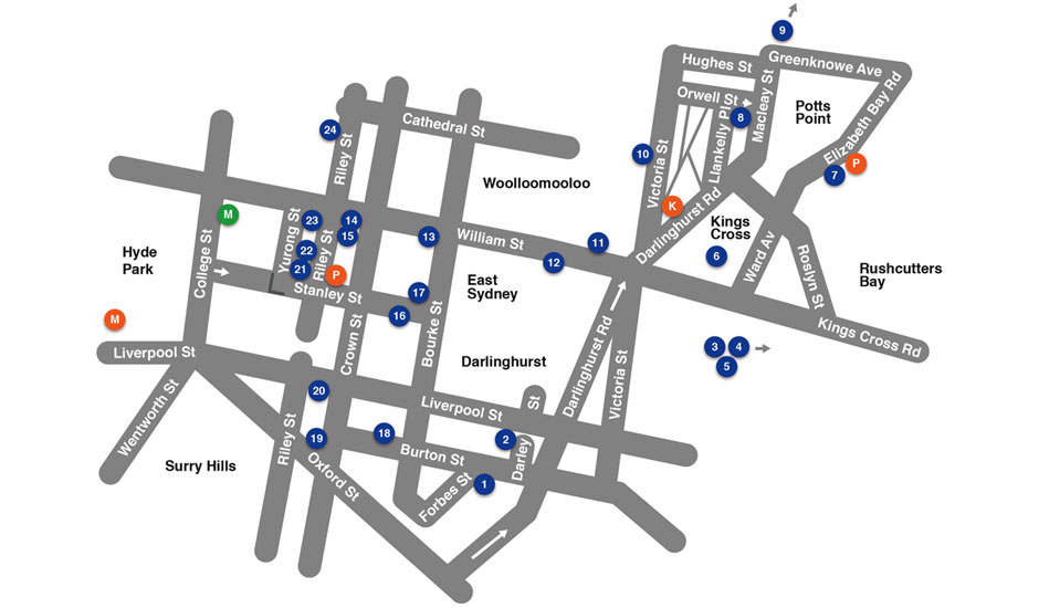Sydney East Contemporary Art Gallery Map