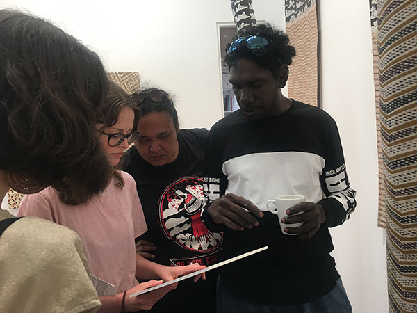 Art Exhibition at The Cross Art Projects. By the Stars: Dhuwarrwarr Marika, Bulthirrirri Wununmurra & Nawurapu Wununmurra. 2019